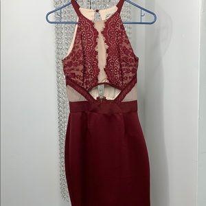 Maroon & Nude Lace Dress